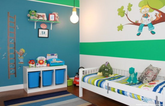 youth room for boys fashion wall paint blue green wall decals
