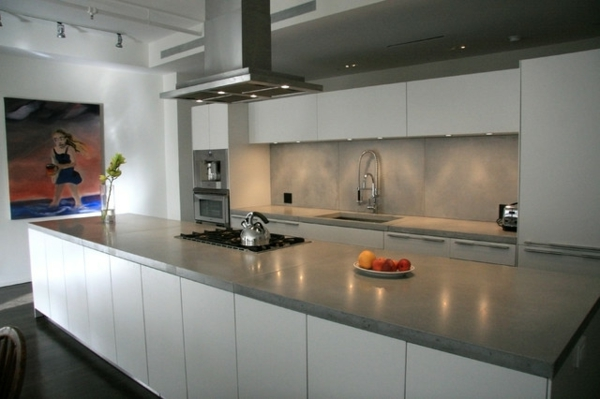 comfortable worktop in concrete look kitchen