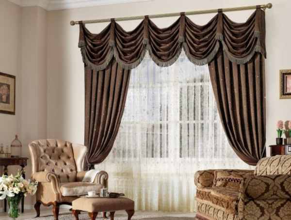 brown living room curtains