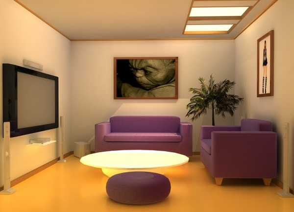 small living room purple couch