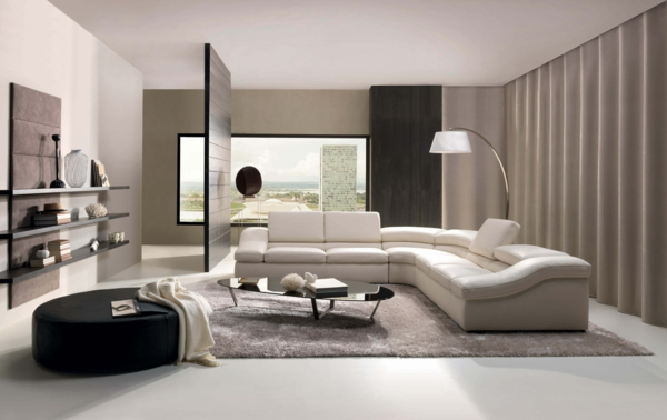 modern furnished living room with thick curtains