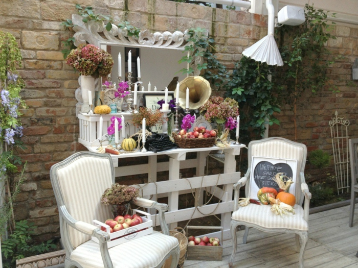 vintage decor garden decorating armchair plants brick wall