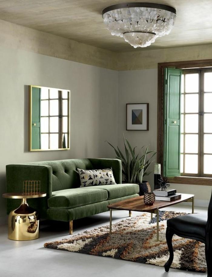 small living room with green sofa