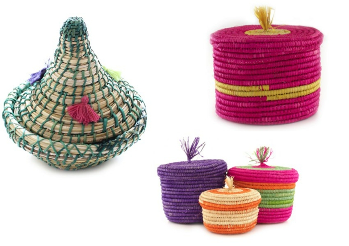 pillow design braided baskets boxes tassels