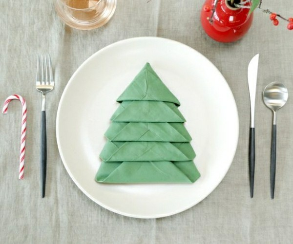 matching napkin folding technique for christmas