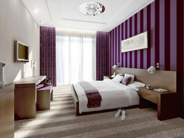 Purple color design ideas for bedroom
