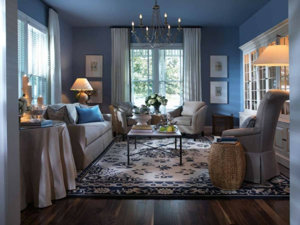 blue wall colors living room color combination