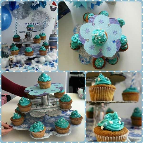 Cupcake cake stand and cupcakes theme frozen