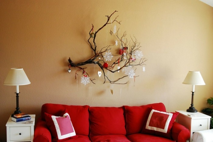 Interior decorating branches like living room