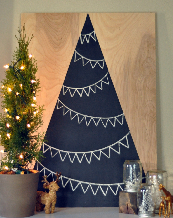 Christmas tree artificially artificial Christmas tree test by wall wall stickers drawing wooden board