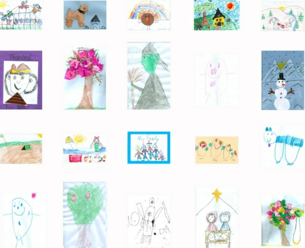DIY decoration ideas with children's drawings wall decoration