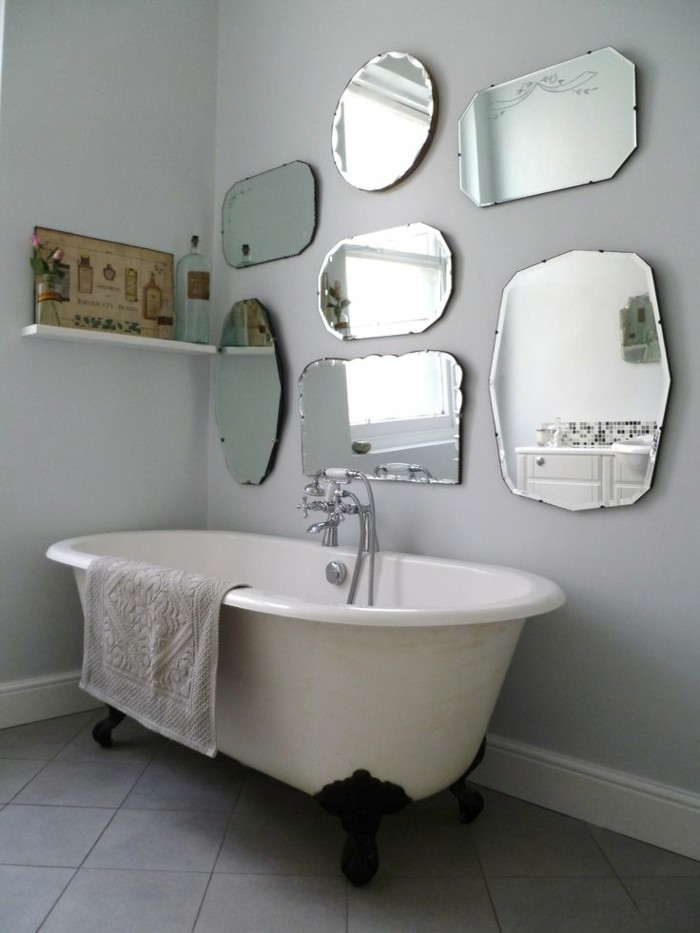 several mirrors in the bathroom