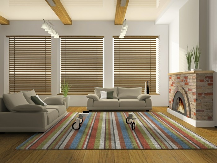 view and sun protection with blinds for the living room