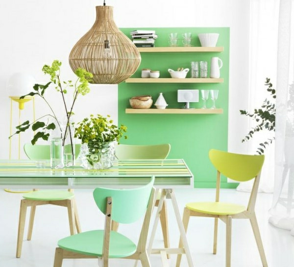 wall design in mint green ideas for the dining room