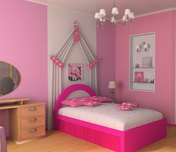 kids room pink white interior