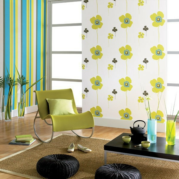 wallpaper pattern different wallpapers combine green armchair sisal carpet