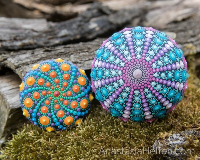 Manala pattern stones painted with natural materials two painted stones