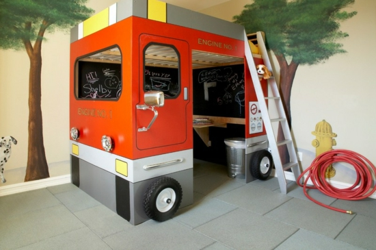 youth room for boy design wall wallpaper fire engine