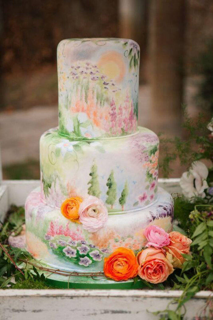 boho style tortendeko with real flowers and drawings