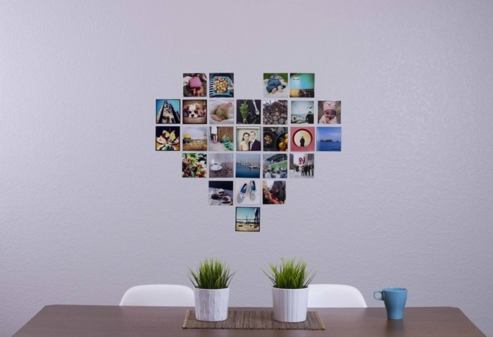 all the best for valentine's day photo collage heart wall decoration ideas