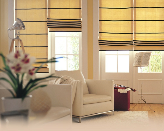 curtains drapery curtains pastel yellow modern design living room leather armchair