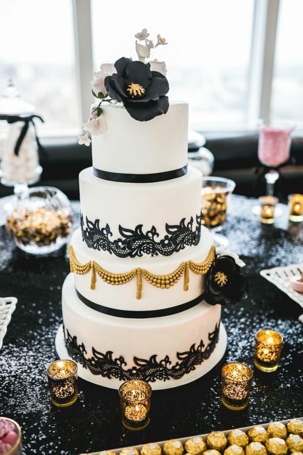 Decorated in upscale colors wedding cakes