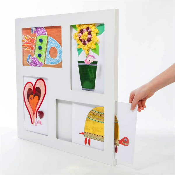 DIY decorating children's drawings exhibiting home decorating