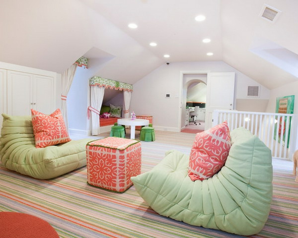 spacious room with sloping roof as a children's room
