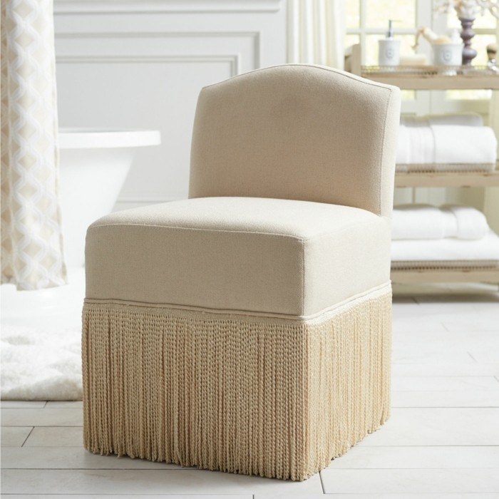 modern armchair with fringed beige