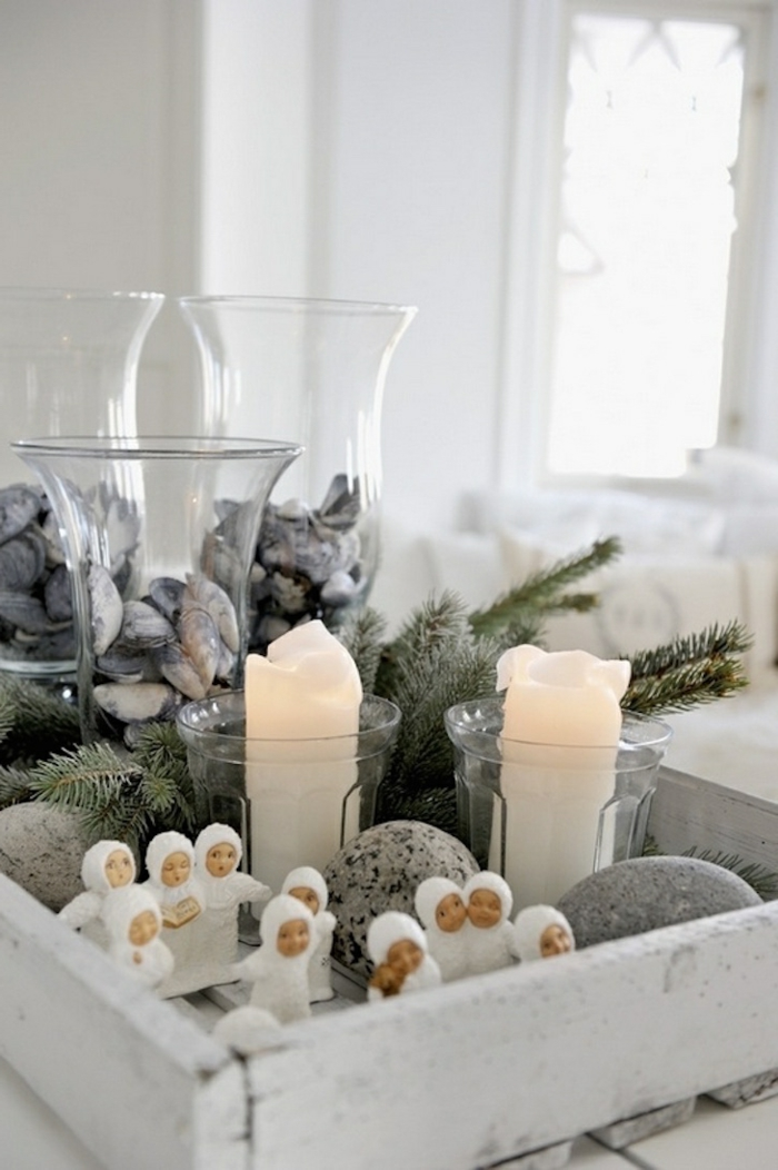 christmas decorations scandinavian style candles stones rustic