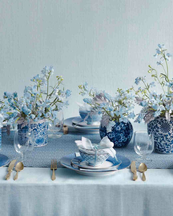 table decorations blue peaceful