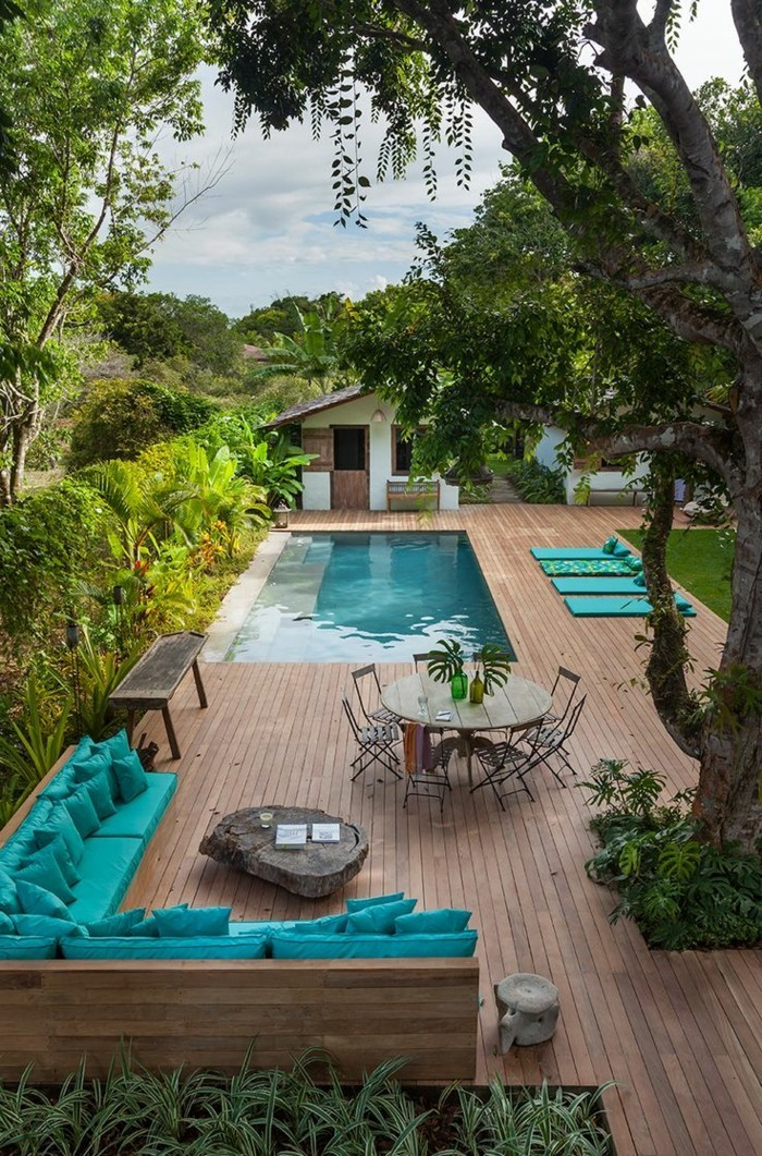 Swimming pool in the summer garden