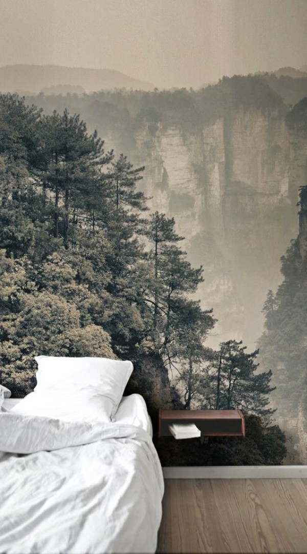 waterfall and forest photo wallpaper bedroom