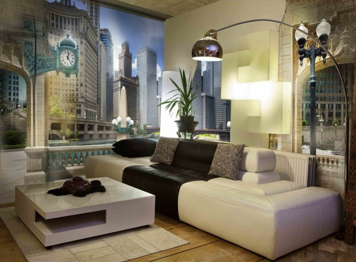 mural decoration living room city creme sofa wooden floor modern couct