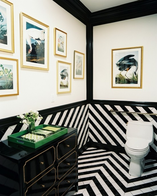 wall design black and white striped walls