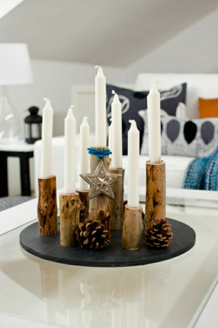 adbvent calendar with tealight holder made of wood