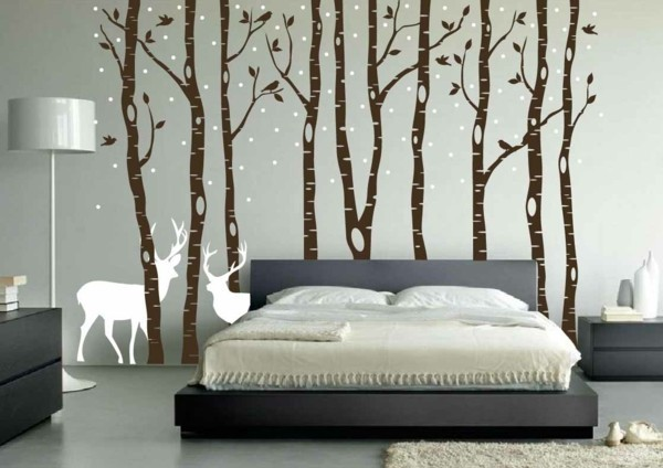 Stylized forest bedroom wallpaper
