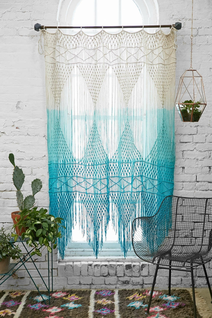 crocheted curtains ombre style white blue beautiful living ideas