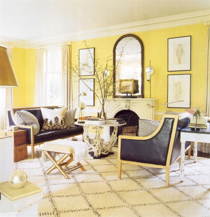living room decorating ideas yellow walls plant carpet pattern