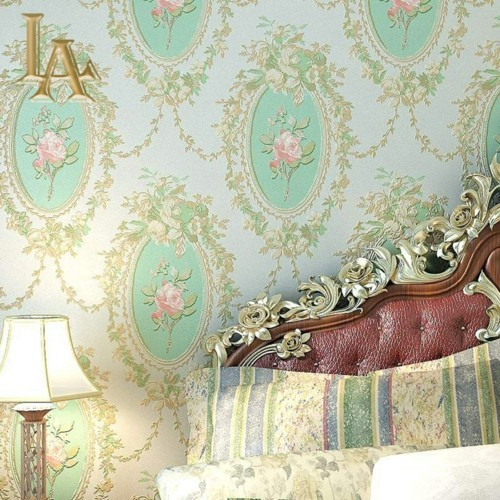 patterned wallpaper vintage accent wall