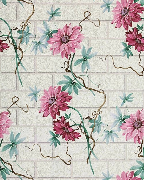 tiles with floral patterned wallpaper