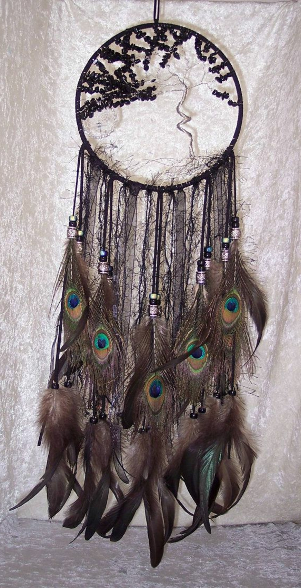 dreamcatcher yourself crafting black feathers peacock feathers