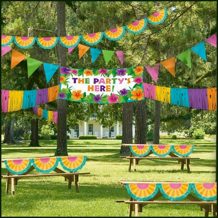 Colored garlands for the summer party