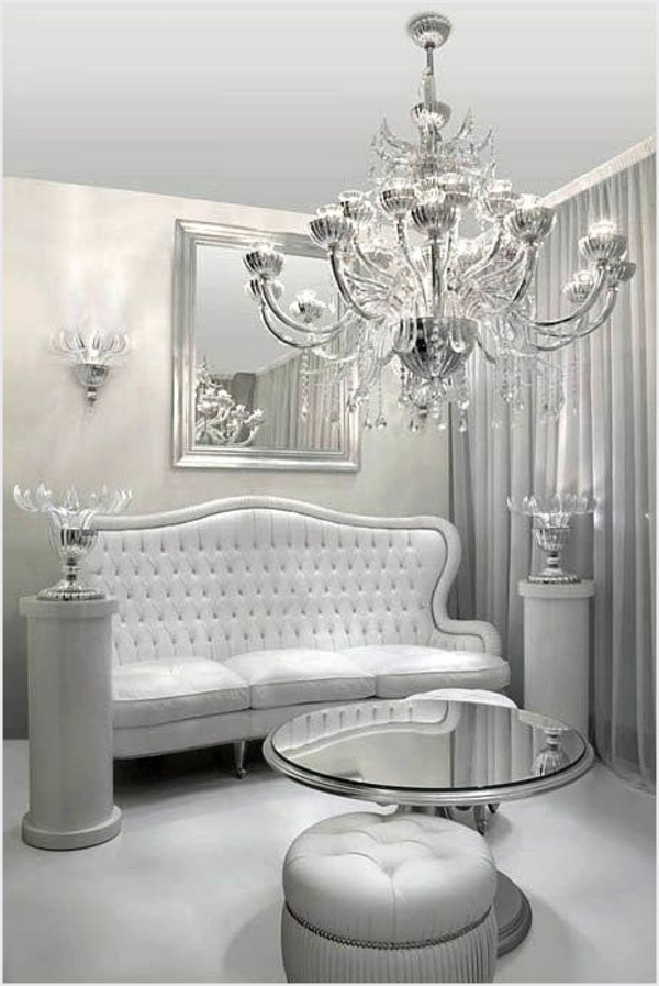 luxurious living room silver stately