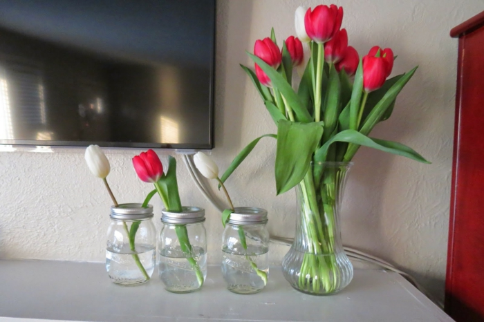 floral decoration mason jars vases tulips