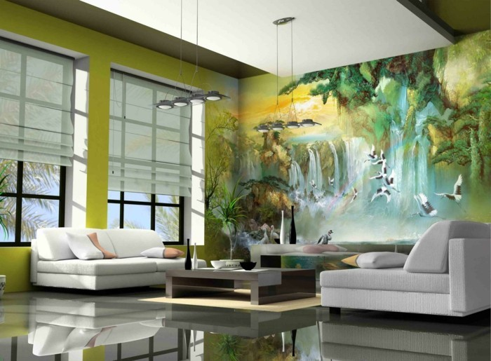 wall painting living room decorate green walls white sofas