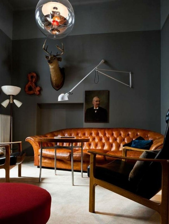 brown leather sofa in scene 13