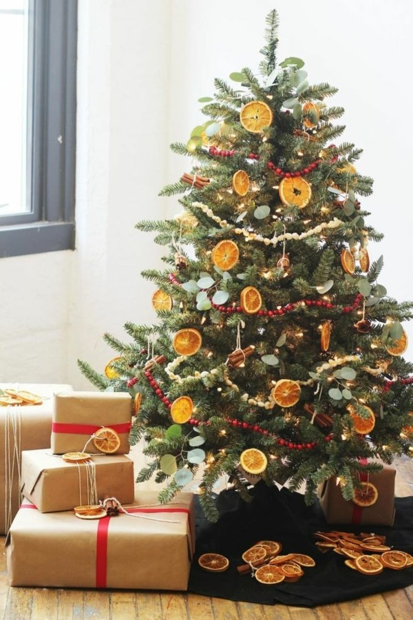 Rural Christmas decoration with orange slices
