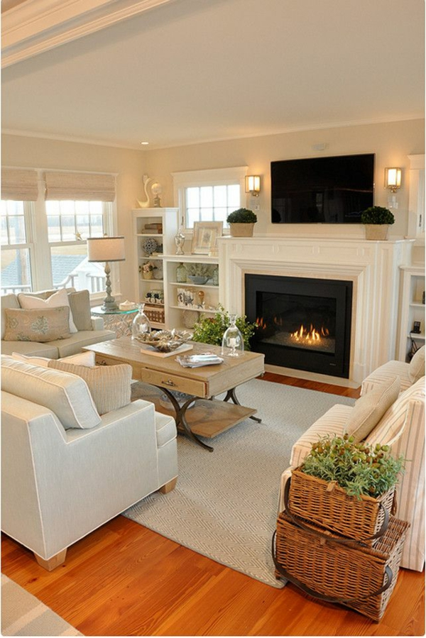 Living room furniture with fireplace