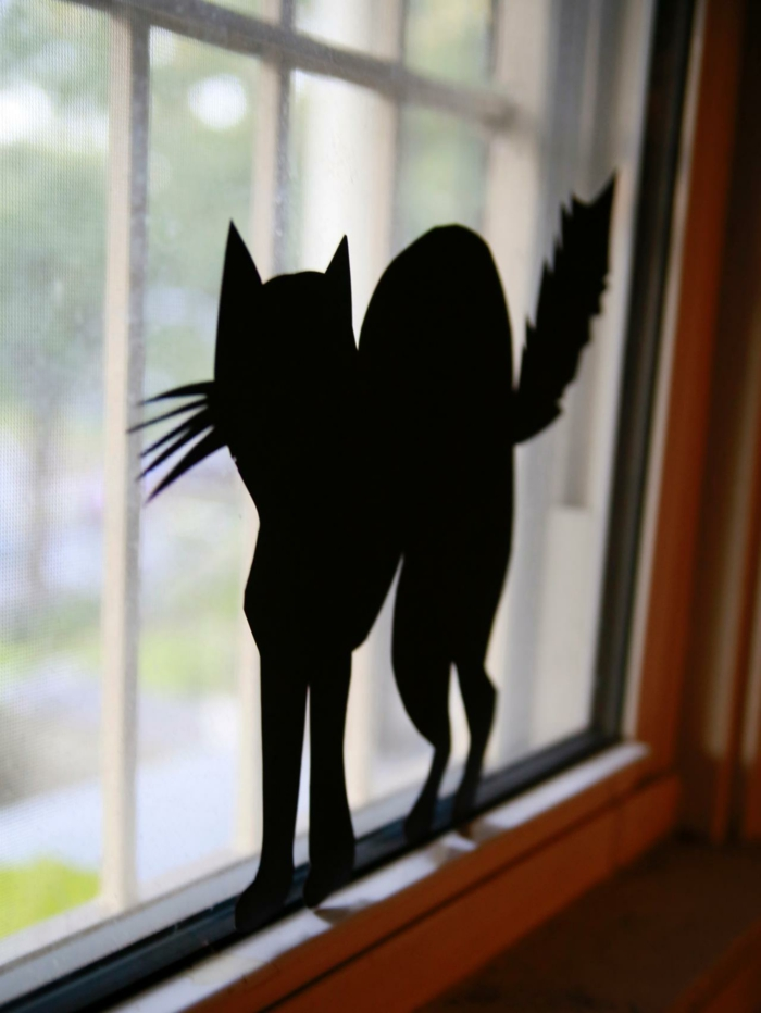 Window pictures tinker with children rain paper cut cat